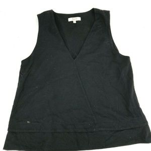 Madewell Black V-Neck Layered Tank Top Blouse Size